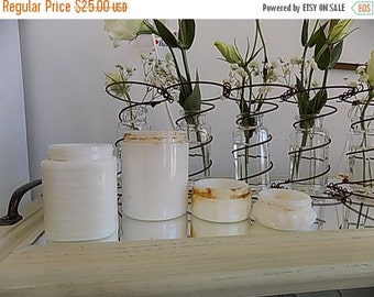 4 Antique Milk Glass Jars - Milkglass Cosmetic Jar Retro Cottage Chic