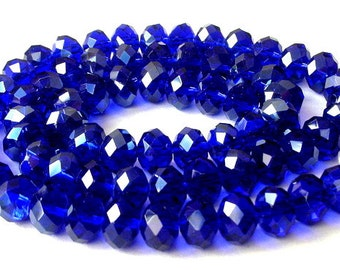 Small cobalt blue beads, 6mm dark blue Chinese crystal, 6x4mm, qty 26