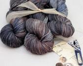 """Hand dyed Yarn Superwash Merino Cora DK Weight  Swoon Fibers """"Repurposed"""""""