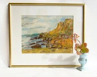 Original Art, Pastel Drawing, Coastal Landscape, Seascape Art, Signed and framed, Orange Tones, Rocky Coast