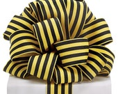 1.5 Inch Wired Yellow Black Striped Ribbon 9723959, Deco Mesh Supplies