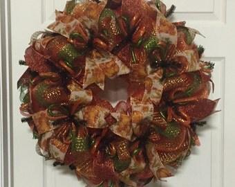 Fall Wreath, Autum Wreaths,  Deco Mesh Wreath (2218-2)
