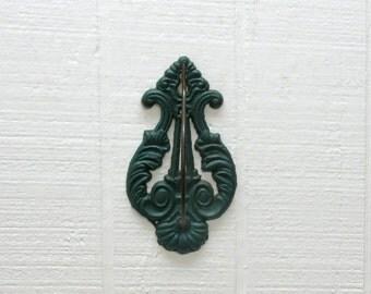 Vintage Receipt Spike Receipt Holder Wall Mount Green Cast Iron