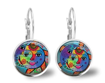 Celestial Sun Moon Earrings Leverback Colorful Whimsical 18mm Glass Tile Earring Cabochon Jewelry