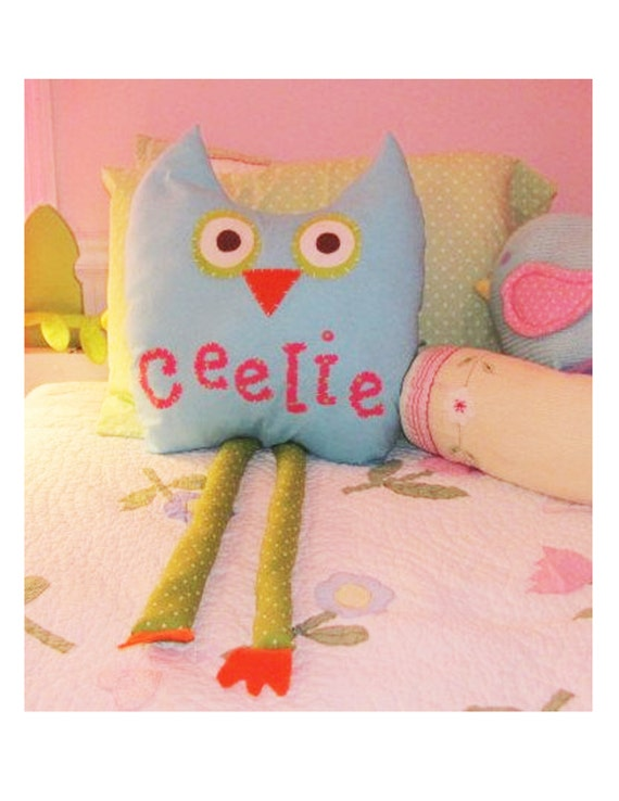 Owl pillow, stuffed animal, owl bedding. aqua pillow, personalized owl, room decor, kid's pillow, personalized pillow, owl nursery decor