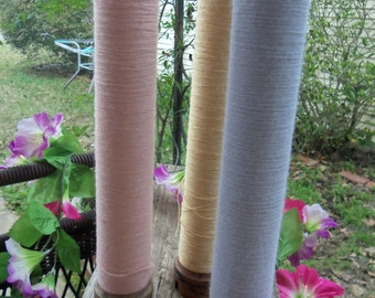 Set of 3 Antique, Vintage Bobbins, Spools, Yarn, Farmhouse, Blue, Pink, Yellow