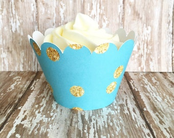 blue and gold polka dot cupcake wrappers, gold and aqua cupcake wrappers, turquoise wedding cupcake wrappers, set of 24