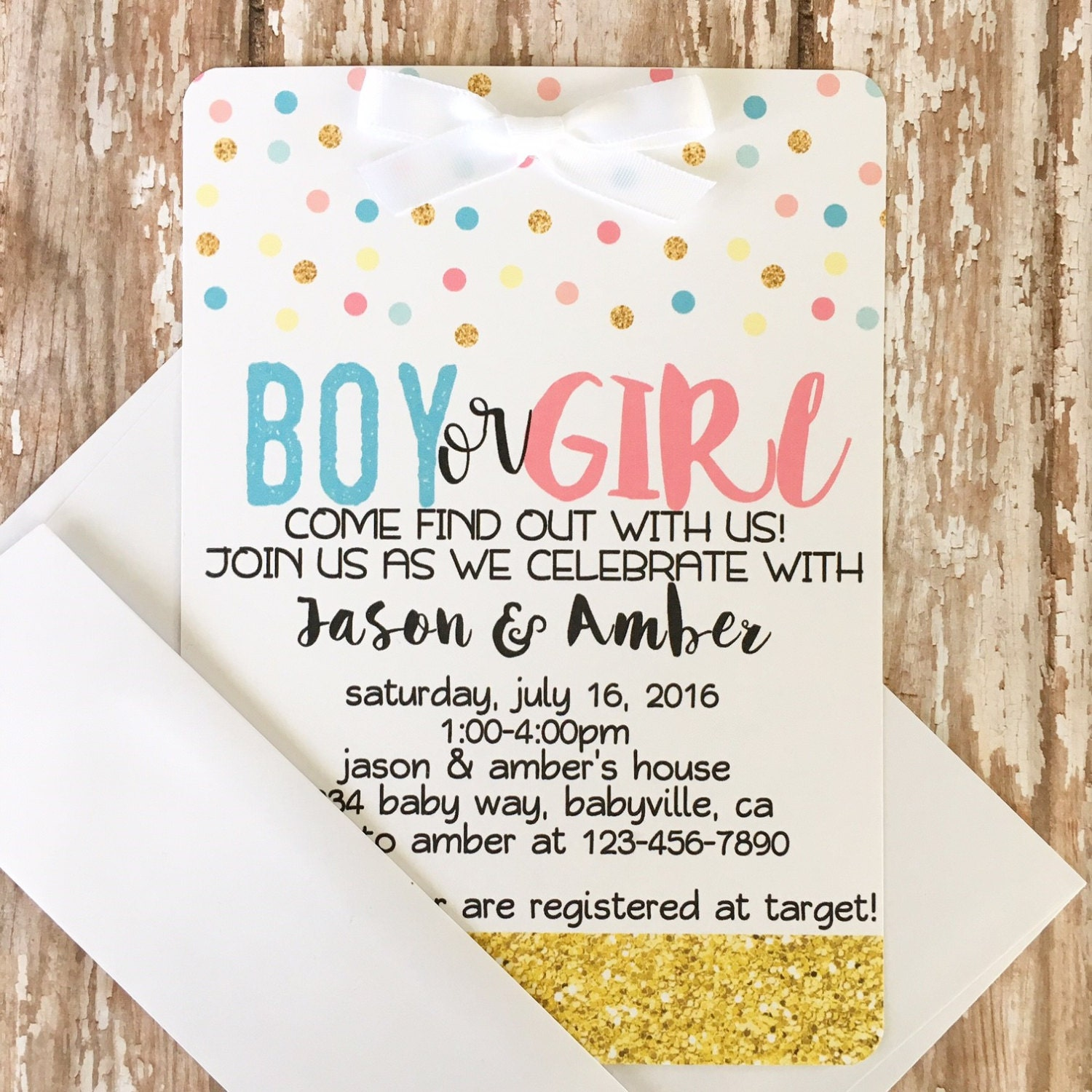 12 gender reveal baby shower invitations with envelopes