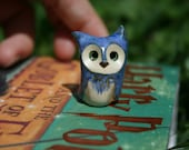 Prophecy the Blue Clay Owl: Harry Potter Inspired Owlery Miniatures