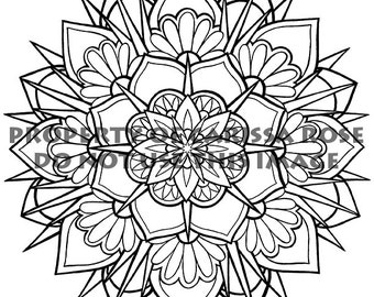 digital download print your own coloring book outline page tattoo flash mandala pretty geometric - Print Your Own Coloring Book
