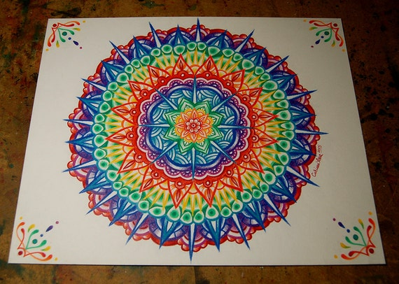 originale couleur crayon dessin mandala 11 x 14 pouces. Black Bedroom Furniture Sets. Home Design Ideas