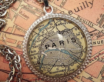 Custom Map Jewelry, Paris France Vintage Map Pendant Necklace, Personalize, Map Cuff Links, Groomsmen Gifts Ideas