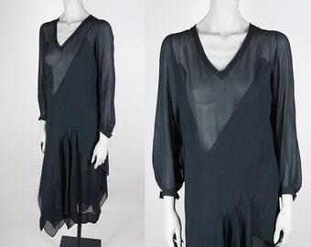 Vintage 20s Dress / Antique 1920s Art Deco Black Sheer Silk Crepe Asymmetrical Flapper Dress