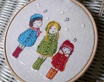 carol singers hand embroidery pattern PDF