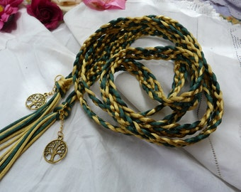 Celtic 7 strand weave satin silk cord - handfasting- green and gold with tree of life