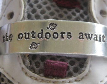 Shoe Tag - Hiker Nature Lover - the outdoors await, hit the trail, get lost, go on take a hike - Hiker Accessory Gift - Shoe Inspiration
