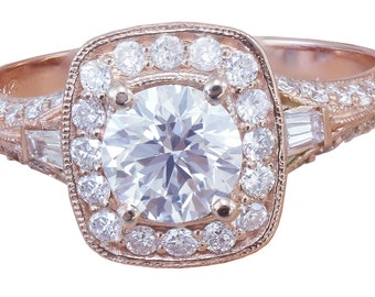 14k Rose Gold Round Cut Diamond Engagement Ring Antique Style Prong 1.75ctw H-SI1 EGL USA