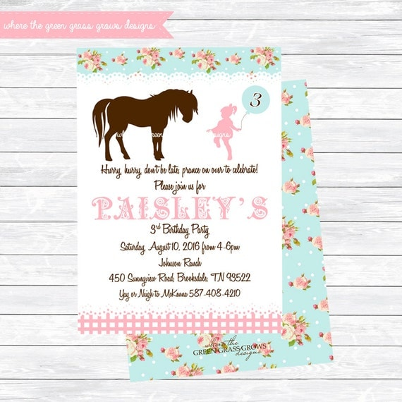Shabby Chic Pony Invitations