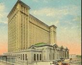 Michigan Central Station DETROIT Vintage Railway Station Postcard Unused