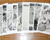 "POSTCARDS by David Jablow 12 Doodle Pad Art Glossy 5x7"""