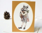 Grey cat with Christmas partridge seasonal winter Christmas greeting card. Card for a friend. Card for a cat lover. Game bird
