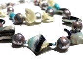 Chunky Layering Necklace Set - Ocean, Mermaid Inspired Jewelry, Amazonite Stone, Smooth Turquoise, Coral, MOP, One of a Kind Polymer Clay
