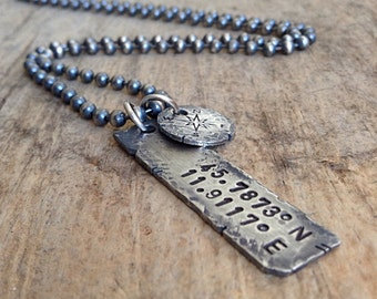 Men's Custom Coordinates Necklace, Rustic Hand Stamped Necklace, Sterling Silver, Personalized Gift For Dad, Gift For Him, Father's Day