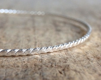 Sterling Silver Bangle, Flat Twist Bangle, Silver Rope Bangle, Sterling Stacking Bangle, Nautical Jewelry, Nautical Bracelet, Boho Luxe
