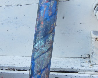 Los Angeles Salvage - Upcycled Beautiful Ornate Vintage Brass Stem - Old Brass Tube - Handcrafted Verdigris - Assemblage Supply
