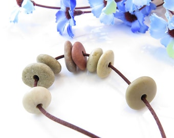 Jewelry Supplies Center Drilled Beach Stones, Special Medium Round Pebbles, River Stone beads