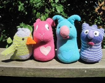 SOX-TOTS: Eennie, Meanie, Mynnie and Moe four funny friends each in their own Easter Basket. Childsafe soft toys made from some baby socks.