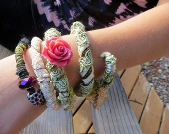 Ribbon Wrapped Lace and Flowers Memory Wire Bracelet Unique and Funky Wrap Bracelet Fiber Jewelry Fabric Bracelet Wrap Bracelet