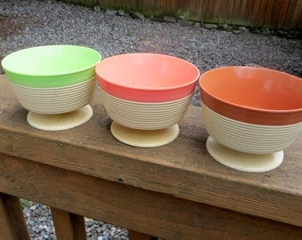 Three Pedestal Cups by Thermo Temp Raffia Ware Set of Three Vintage Kitchen and Dining Decor Pastel Colors Bowls