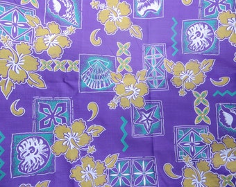 Tropical Style Fabric Purple and Gold Metro Samoa Island Fabric 1 1/2 Yards Cotton Fabric