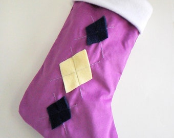 Argyle Amethyst Purple Modern Christmas Stocking - Personalized Christmas Stocking - Purple Stocking