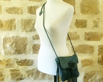 blue leather handbag shoulder purse with braided straps by Tuscada. Ready to shoip.