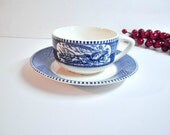 Vintage Royal China Currier & Ives Blue Flat Cup Saucer Set