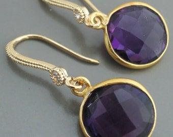 Amethyst Earrings - Gold Earrings - Gemstone Earrings - Bridal Earrings - handmade jewelry