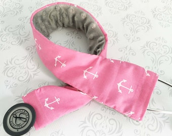 Stethoscope Cover - Nurse, Medical Assistant, Doctor, Nursing Student, Med Student - Nurse Gift - Pink Anchors with Gray Minky