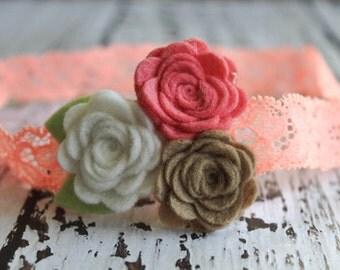 Felt Flower headband / baby headband / newborn headband / girl headband - Coral, White and Toast -