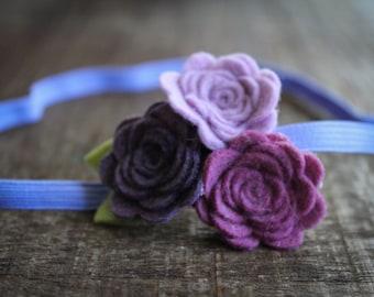 Felt Flower headband / baby headband / newborn headband / girl headband - Purple, Lavender and mulberry-