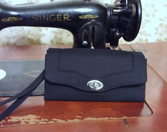 Custom Necessary Wallet, Solid Black, Accordion Style, Clutch, Key Chain, Wristlet. Chain Purse, Crossbody