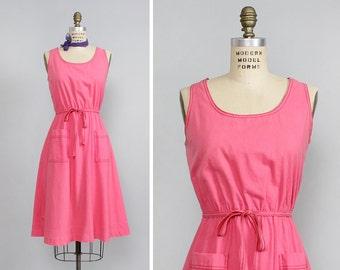 Pink Flare Dress M • 70s Dress with Pockets • Summer Cotton Dress • Cotton Midi Dress • Cotton Sundress • Cotton Summer Dress  | D735
