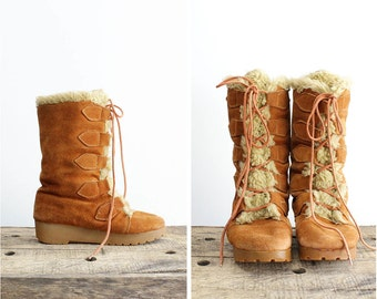 70s Suede Boots 6.5 • Fleece Lined Snow Boots • Fuzzy Platform Boots • Winter Boots • Snow Lace Up Boots | SH223