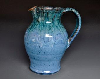 Blue Stoneware Ceramic Pitcher Hand Made Pottery Jug A