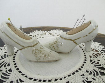 Vintage Pincushion Shoes - Small White Pincushion Shoes - Sewing Room Decor - Studio Decor - Two in Set