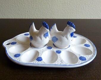 Vintage Deviled Egg Serving Platter with Matching Salt & Pepper Shaker Set - Japan