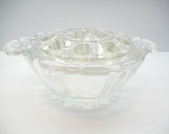Vintage Glass Frog Flower Holder with Dish