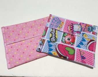 Reusable Snack Bag Set of Two Shopkins Pink Dots Eco Friendly