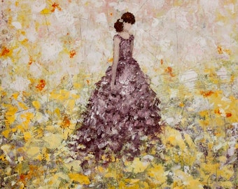 Figure Painting Wildflowers painting abstract painting woman daughter painting 12 x 16 Among the Flowers Swalla Studio